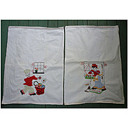 Pair Hand Embroidered Colorful Ethnic Lady and Gent Vintage Dish Towels