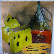 Wine and Cheese Enamel on Copper Plaque