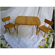 Strombecker Dining Table with Leaf and 2 Chairs for 8 Inch Dolls