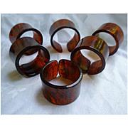 Rootbeer Swirl Lucite Napkin Rings Set of 6