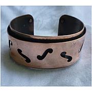 Modernist Design F Holes Copper Cuff Bracelet