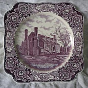 Crown Ducal Mulberry Transferware Birthplace of Washington  Memorial Plate 1932