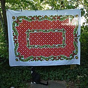 Super 60's Swags and Snowflakes Stevens Tastemaker Christmas Tablecloth