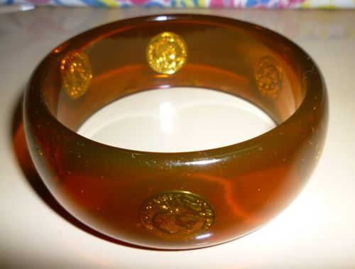 Lucite Translucent Bracelet with Embedded French Coins