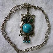 SALE Owl Pendant on Chain Green Eyes Blue Tummy