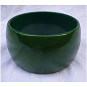 Super Wide Gorgeous Green Chunky Bakelite Bangle Bracelet