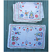 Set of 8 German Folkloric and Flower Motif Print Linen Placemats Napkins Vintage 1950s