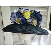 Exclusively For You Lord & Taylor Fabulous Flowers Navy Blue Straw Hat