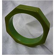 Great Green Octagon Chunky Bakelite Bangle Bracelet