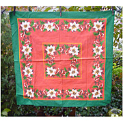 White Poinsettias Mistletoe Vintage 60's Print Christmas Tablecloth