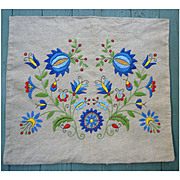 Colorful Flowers Arts & Crafts Embroidery Linen Pillow Cushion Cover