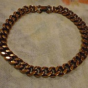 Signed Renoir Copper Heavy Links Choker Necklace 50's Modern