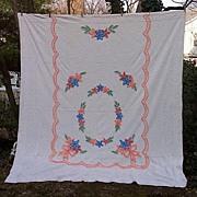 Spring Posies and Bows Multicolor Floral Vintage Chenille Bedspread