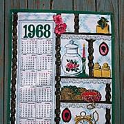 1968 Linen Calendar Towel What Not Shelf Family Keepsakes