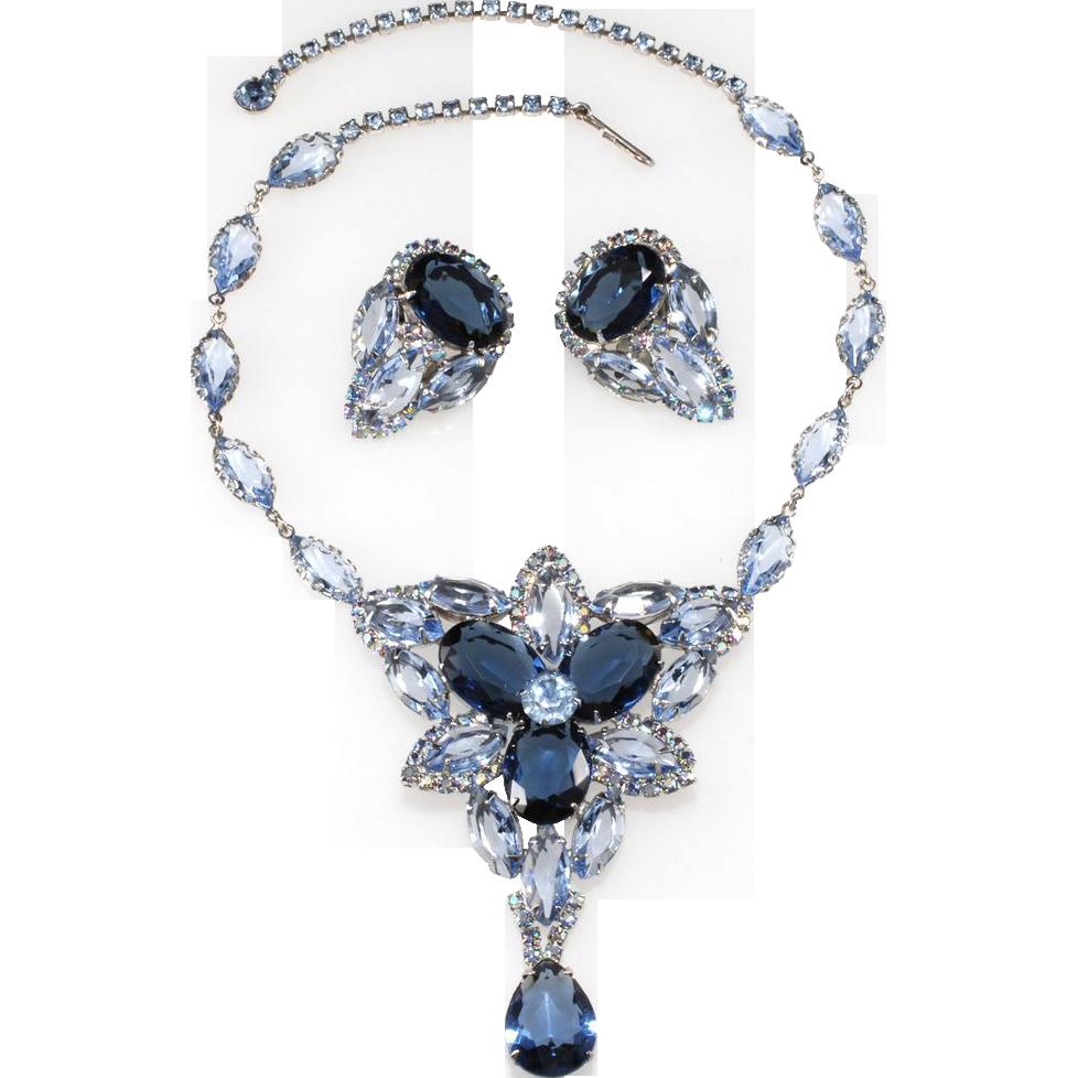 1950s Blue Rhinestone Necklace & Earrings Set