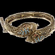 ART Signed Snake Bracelet Hinged Cuff