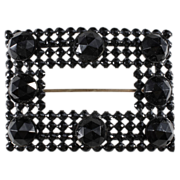 Black Glass & Enamel Sash Pin Brooch c. 1890s