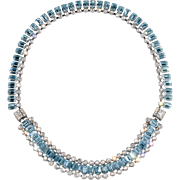 Blue & Clear Rhinestone Convertible Bracelet to Necklace