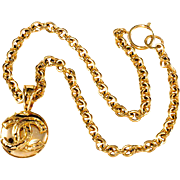 CHANEL CC Logo Gold Plated Pendant Necklace