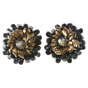 Hattie Carnegie Black & Bronze Bead Cluster Earrings