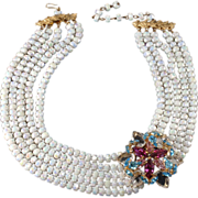 SALE Castlecliff Rhinestone & Iridescent Bead Necklace