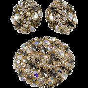 Alice Caviness Gray & Aurora Rhinestone Brooch Earrings Set