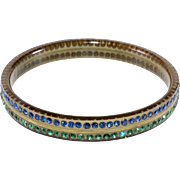 1920s Celluloid Blue & Green Rhinestone Bangle Bracelet