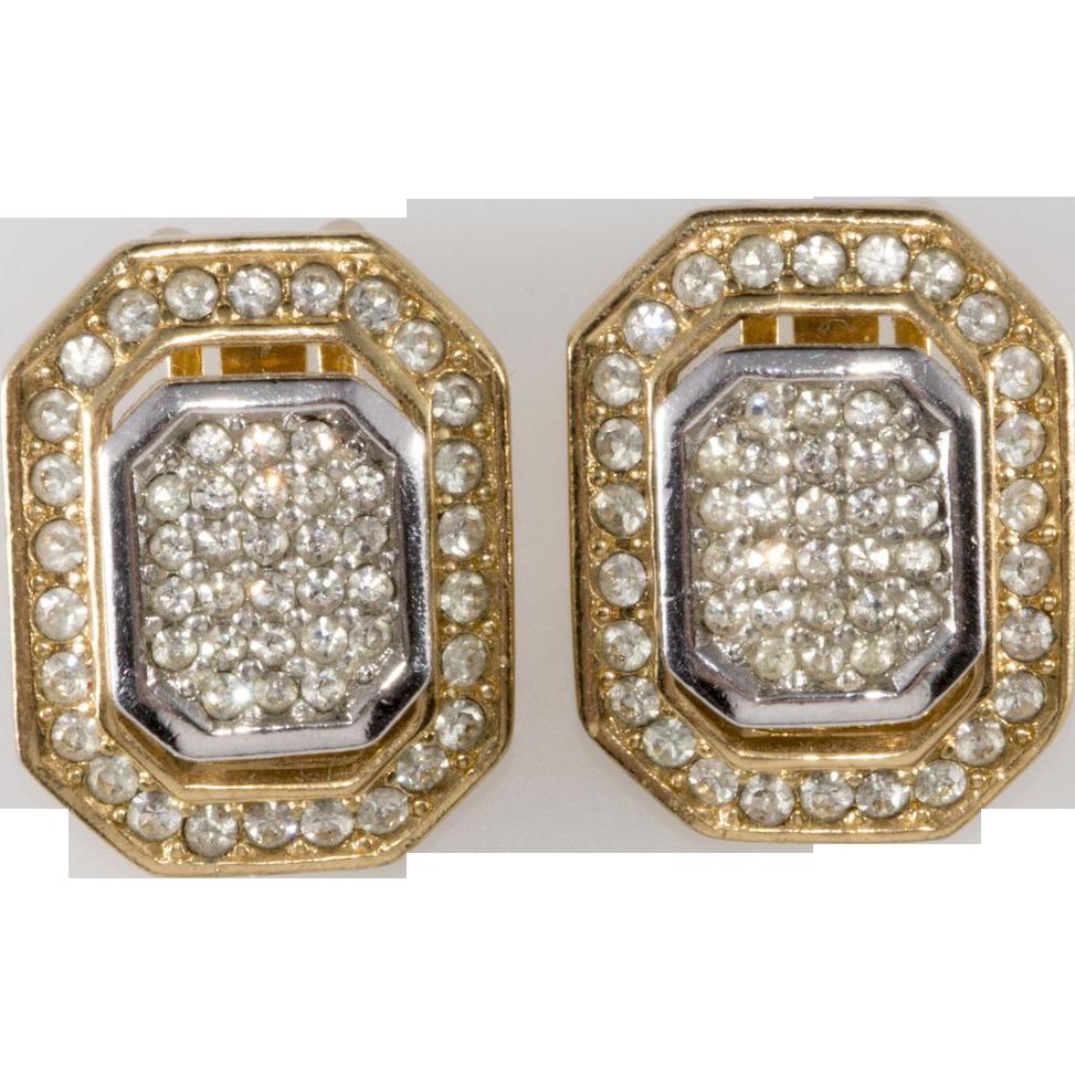 Christian Dior 1980s Rhinestone Earrings