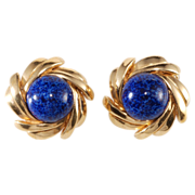 SALE Ciner Faux Lapis and Gold Plated Earrings