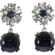 Ciner Sapphire Blue Rhinestone Dangle Earrings