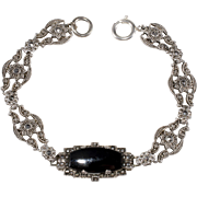 Ciner Sterling Art Deco Black Glass & Marcasite Bracelet