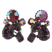 SALE Claudette Purple & Red Rhinestone Earrings