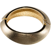Christian Dior Brushed Goldtone Hinged Bangle Bracelet