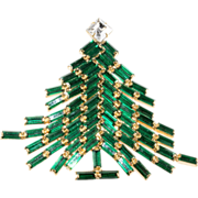 Dominique Green & Clear Rhinestone Christmas Tree Pin Brooch