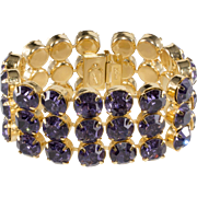 Dominique WIDE Purple Rhinestone Bracelet