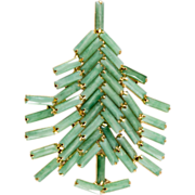 Dominique Jade Green Christmas Tree Pin Brooch