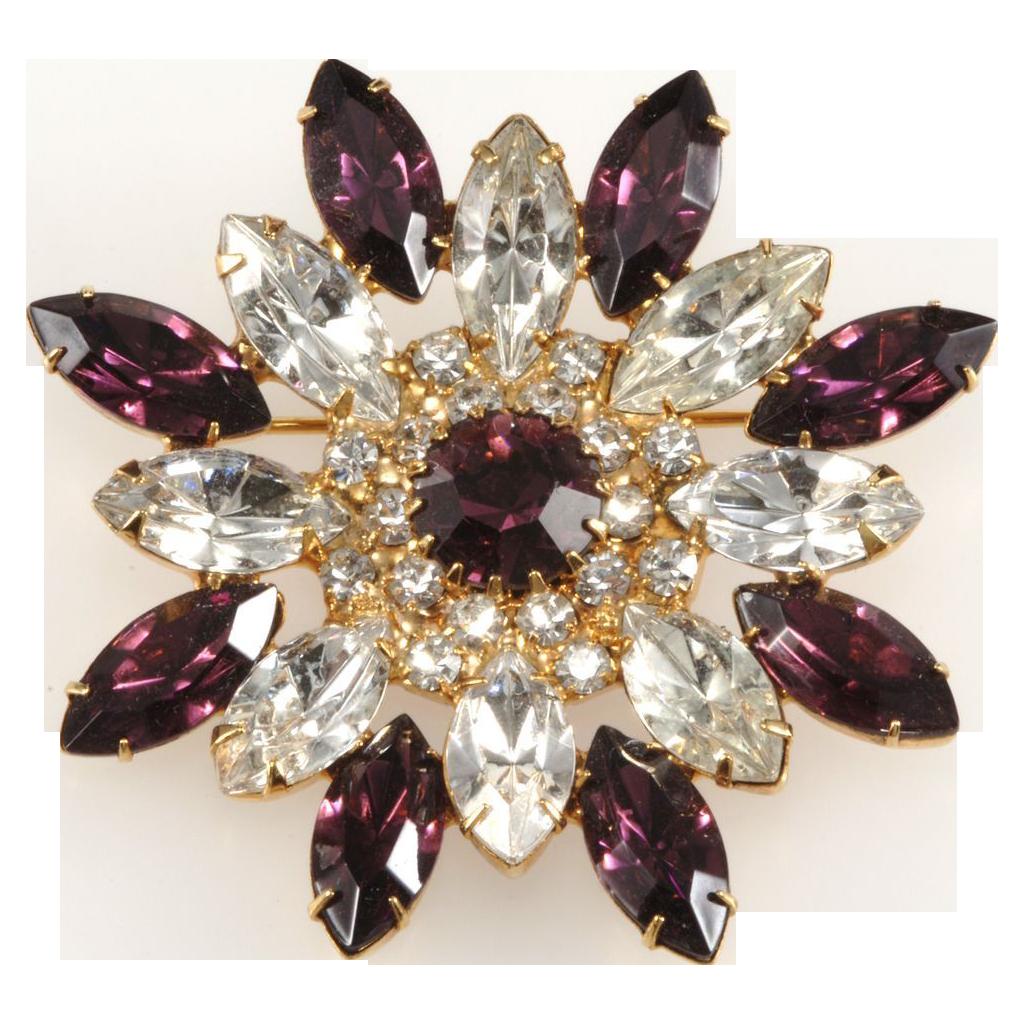 Dominique Purple & Clear Rhinestone Flower Brooch Pin