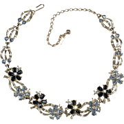 Duane 1950s Blue Rhinestone Flower Necklace Vintage