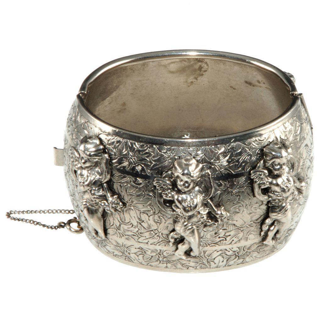Freirich Cherub Hinged Cuff Bracelet Victorian Inspired
