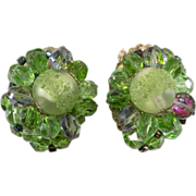1960s Green Glass Cluster Earrings