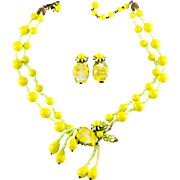 Miriam Haskell Chartreuse Green Bead Necklace & Earrings Set