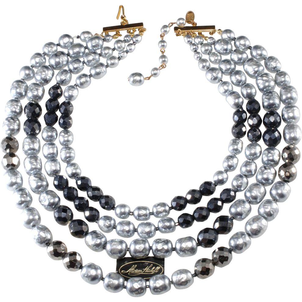Miriam Haskell Gray Pearl Four Strand Necklace