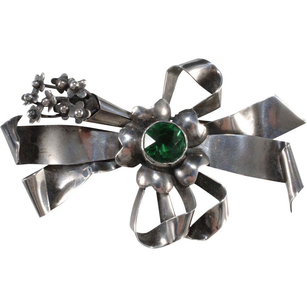Hobe' Sterling Bow Brooch w/ Green Rhinestone