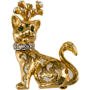 Jeanne Goldtone & Rhinestone Cat Pin Brooch