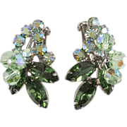 Juliana D&E Green & Iridescent Rhinestone Earrings