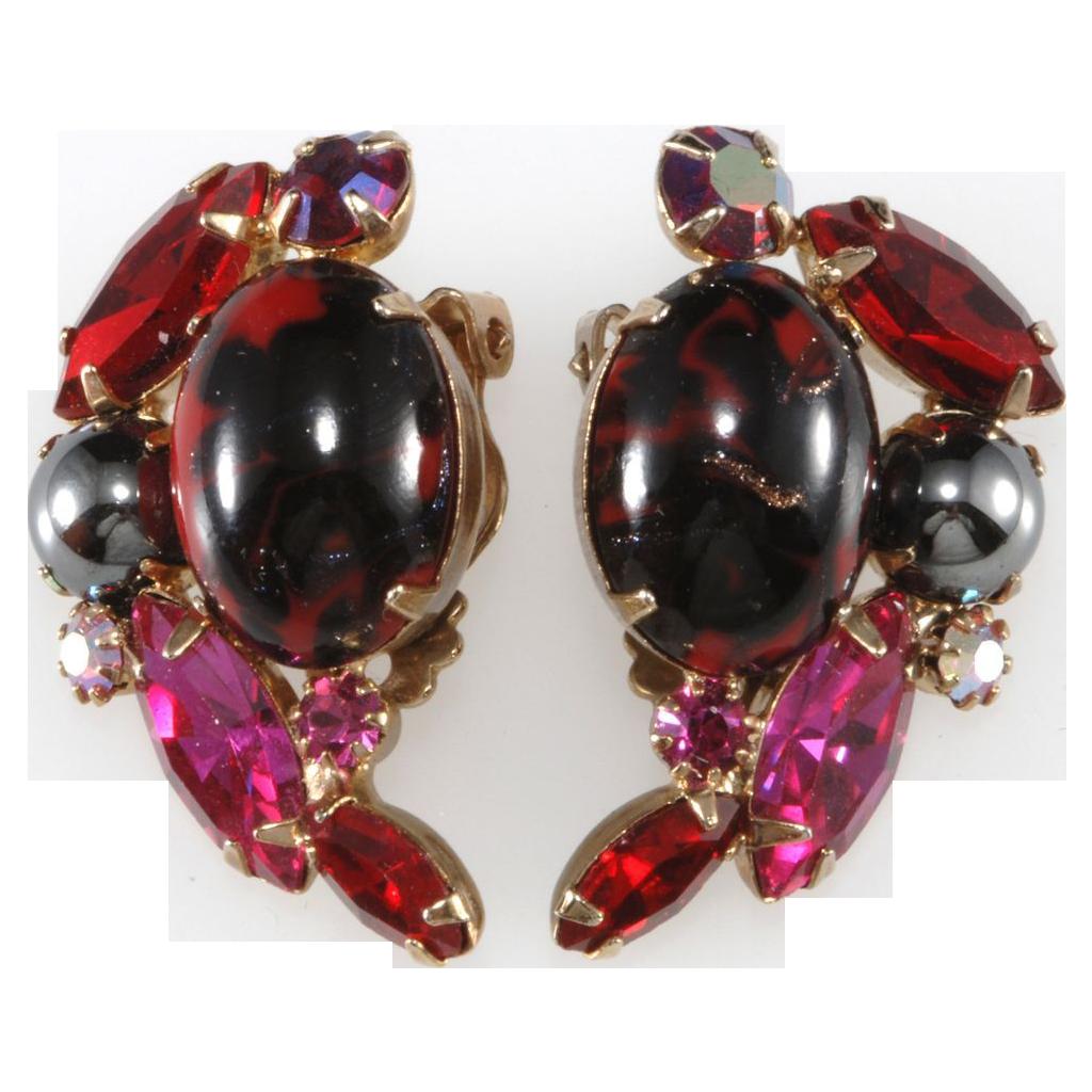 Juliana Red & Pink Art Glass Earrings