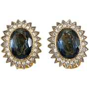 Les Bernard Sapphire & Clear Rhinestone Earrings