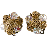 Lisner Crystal & Filigree Bead Earrings