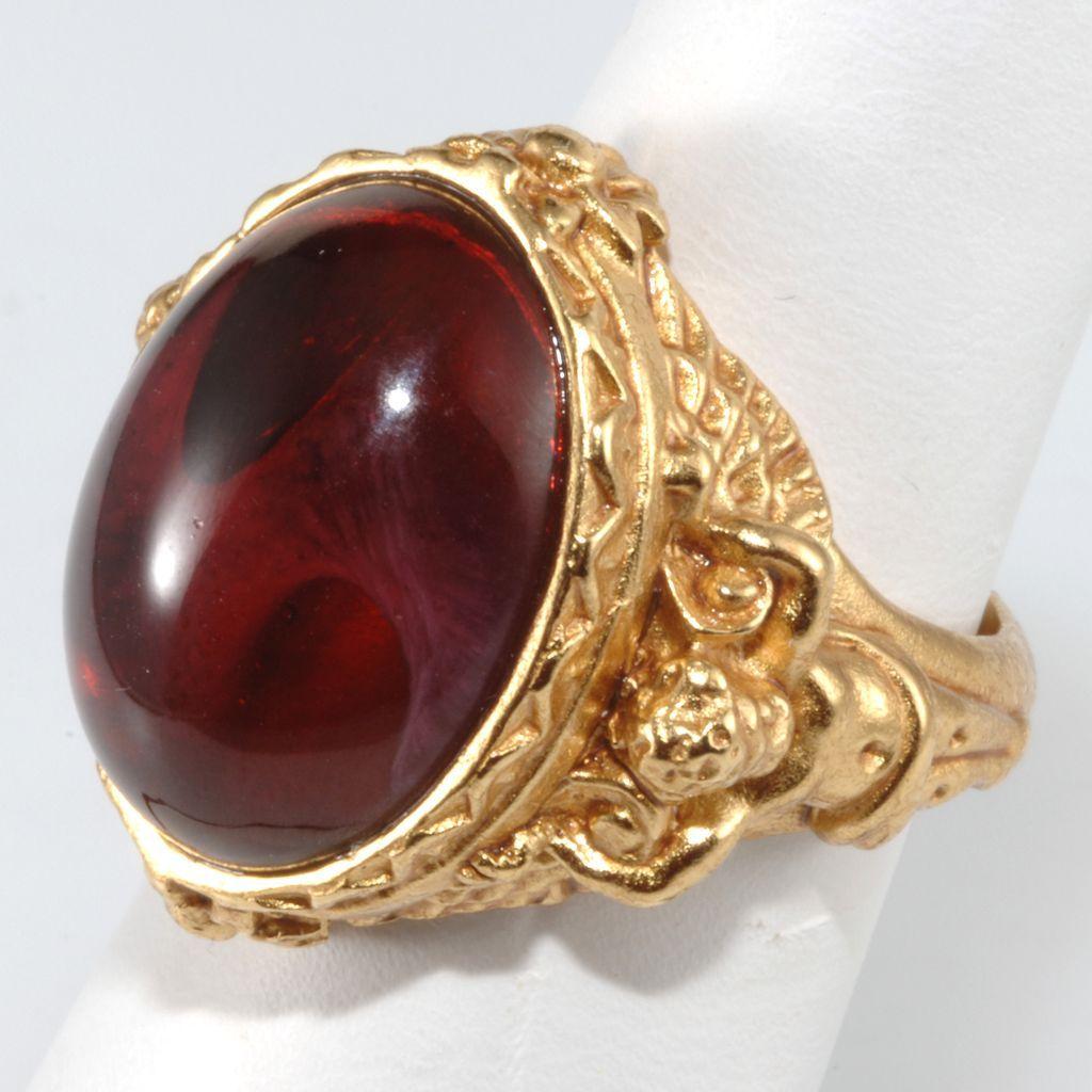 Elizabeth Taylor Gilded Age Ruby Cherub Ring Size 7