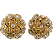 Monette Paris French Designer Rhinestone Cluster Earrings
